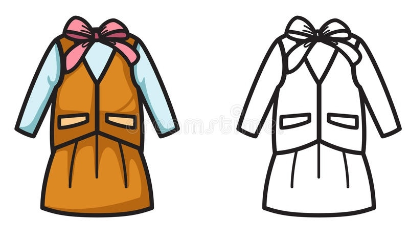 Uniform clipart svg black and white stock Colorful And Black And White Uniform For Coloring Book Stock ... svg black and white stock