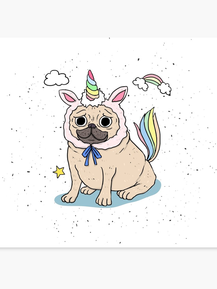 Unipug clipart graphic free stock Happy Cute Colorful Unipug Rainbow | Canvas Print graphic free stock