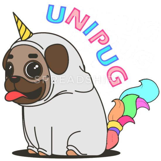 Unipug clipart clipart free download Unipug or Unicorn Buttons small 1\'\' (5-pack) - white clipart free download