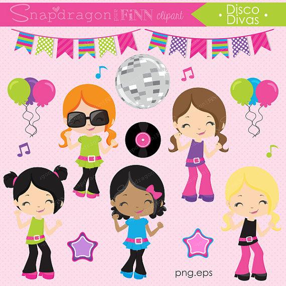 Unique dance clipart picture black and white download Our Disco Divas clipart set includes 34 unique clipart ... picture black and white download