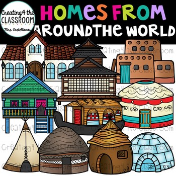 Unique features of clipart clip royalty free stock Homes From Around the World Clip Art {Homes Clipart} clip royalty free stock
