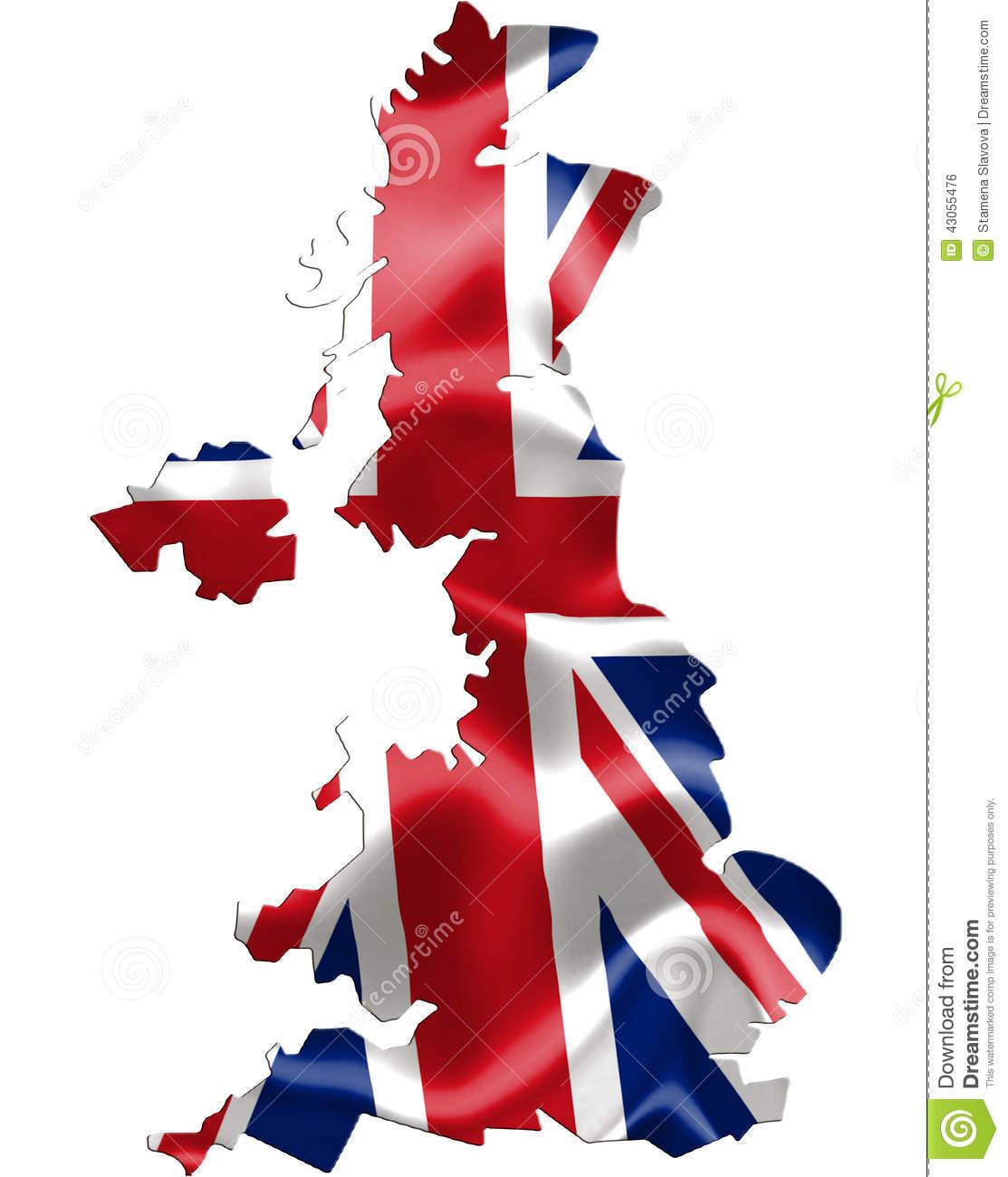 United kingdom map clipart image freeuse library UK United Kingdom Map With Flag Stock Illustration - Image: 43055476 image freeuse library