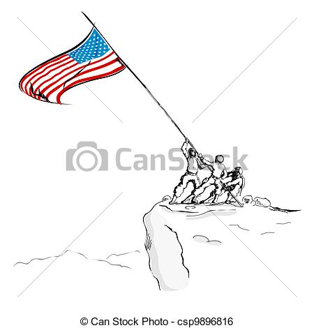 United states flag army clipart svg library Clip Art Vector of American Army with Flag - illustration of ... svg library