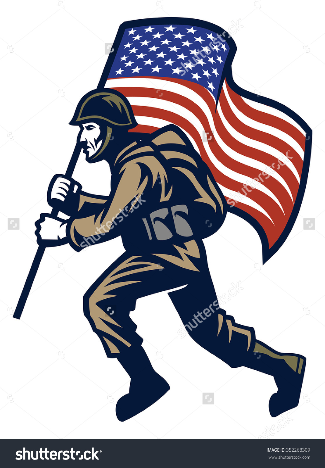 United states flag army clipart image Military Soldier Carrying United States Flag Stock Vector ... image