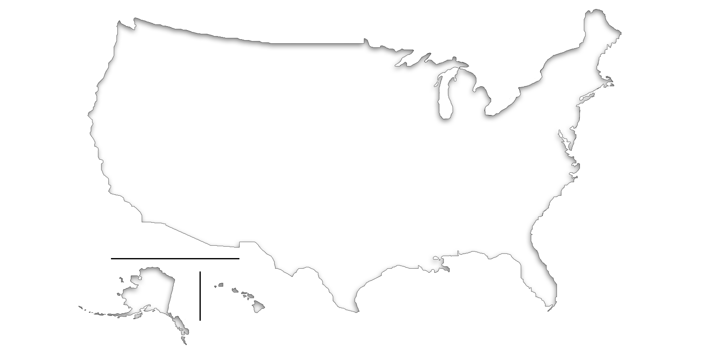 Library Of United States Map Black And White Graphic