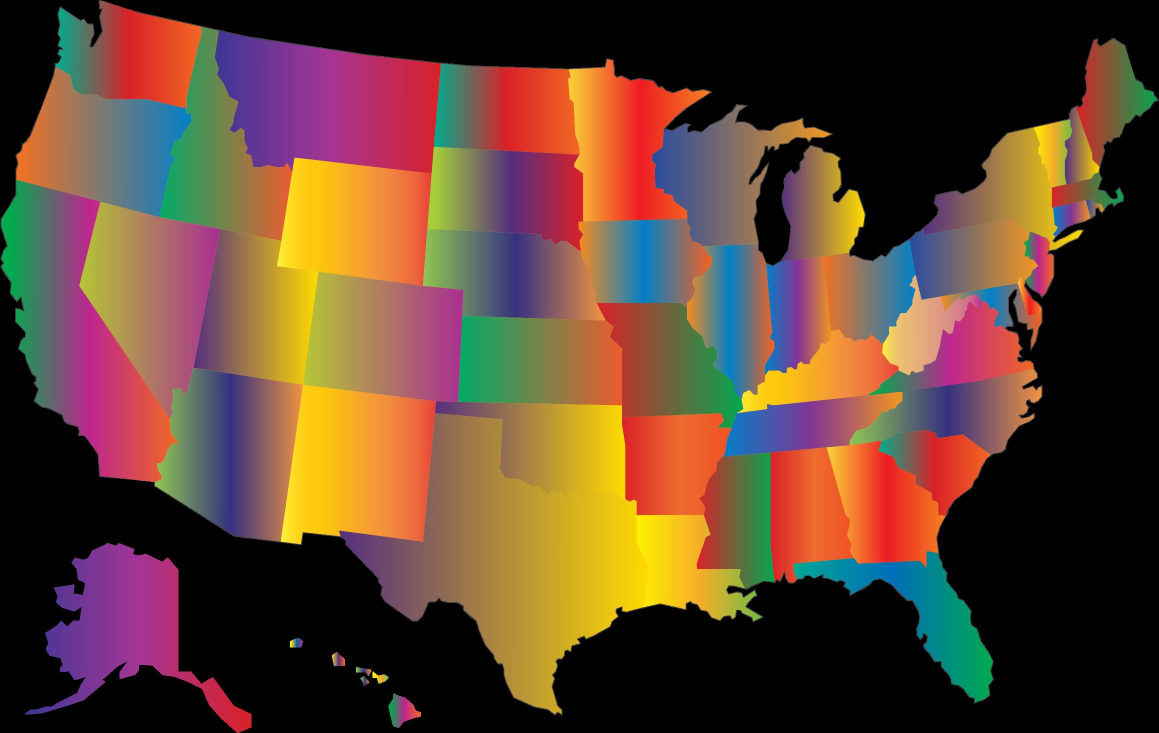 United states map clipart svg transparent Clipart - MultiColored Blended United States Map svg transparent
