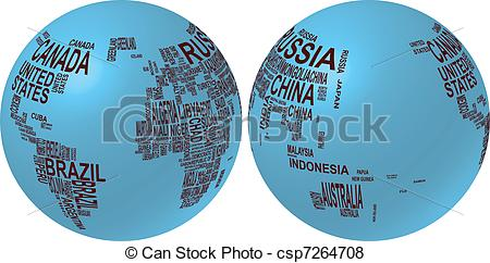 United states map globe clipart jpg freeuse stock Vector Clipart of world map with country name - illustration of ... jpg freeuse stock