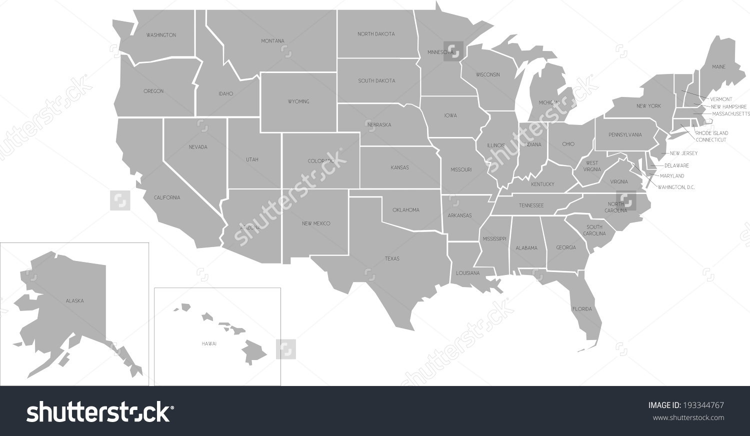 United states map outline vector with state names clipart clip free download Simplified Vector Map United States America Stock Vector 193344767 ... clip free download