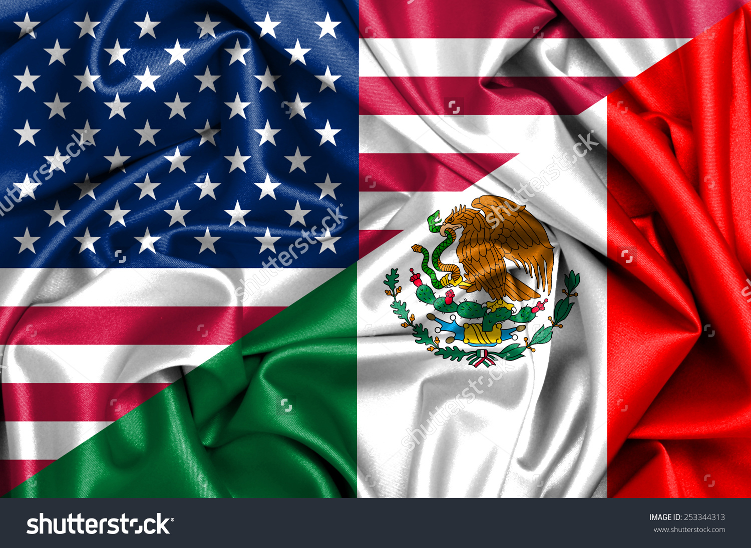 United states mexico flag clipart clip royalty free download Waving Flag Mexico Usa Stock Illustration 253344313 - Shutterstock clip royalty free download