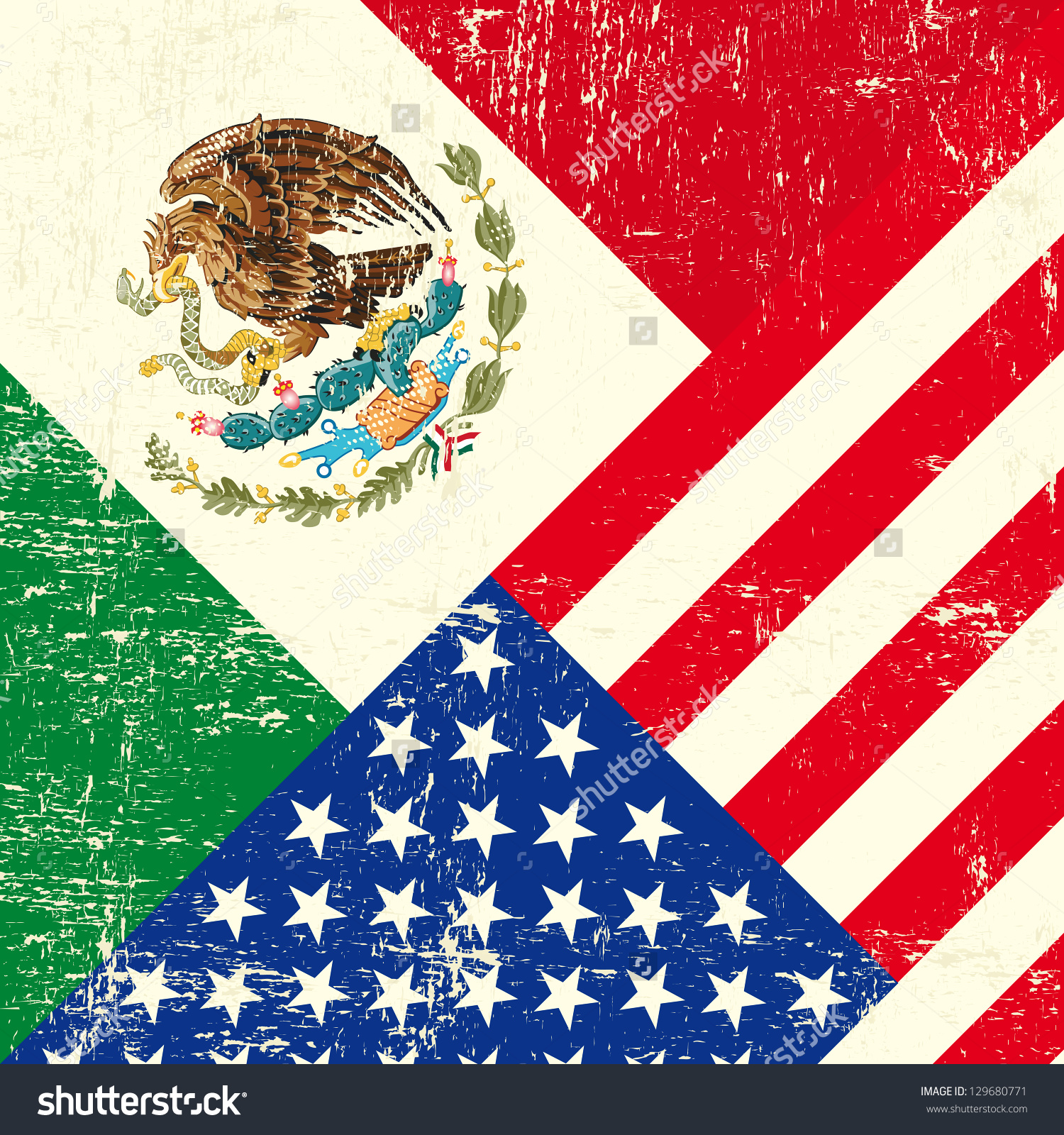 United states mexico flag clipart vector black and white Usa Mexican Grunge Flag Stock Vector 129680771 - Shutterstock vector black and white