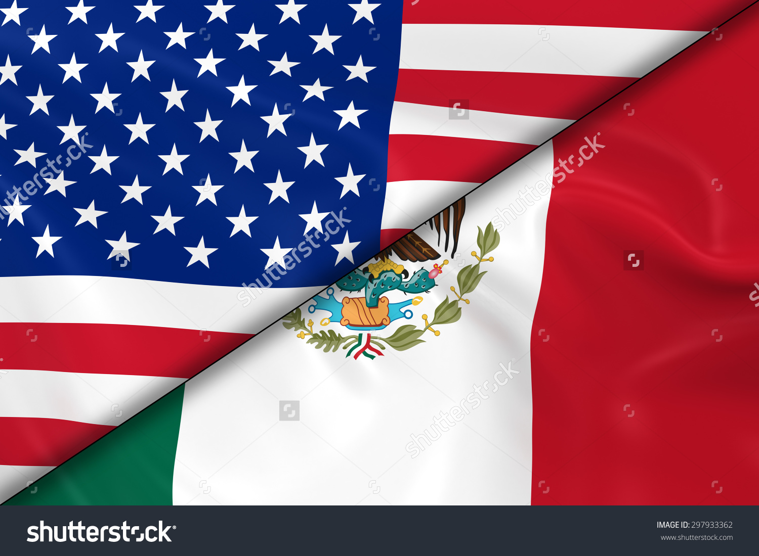 United states mexico flag clipart picture freeuse library Flags United States America Mexico Divided Stock Illustration ... picture freeuse library