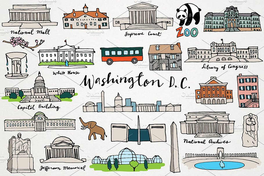Washington monuments clipart clip transparent library Washington DC Clipart clip transparent library
