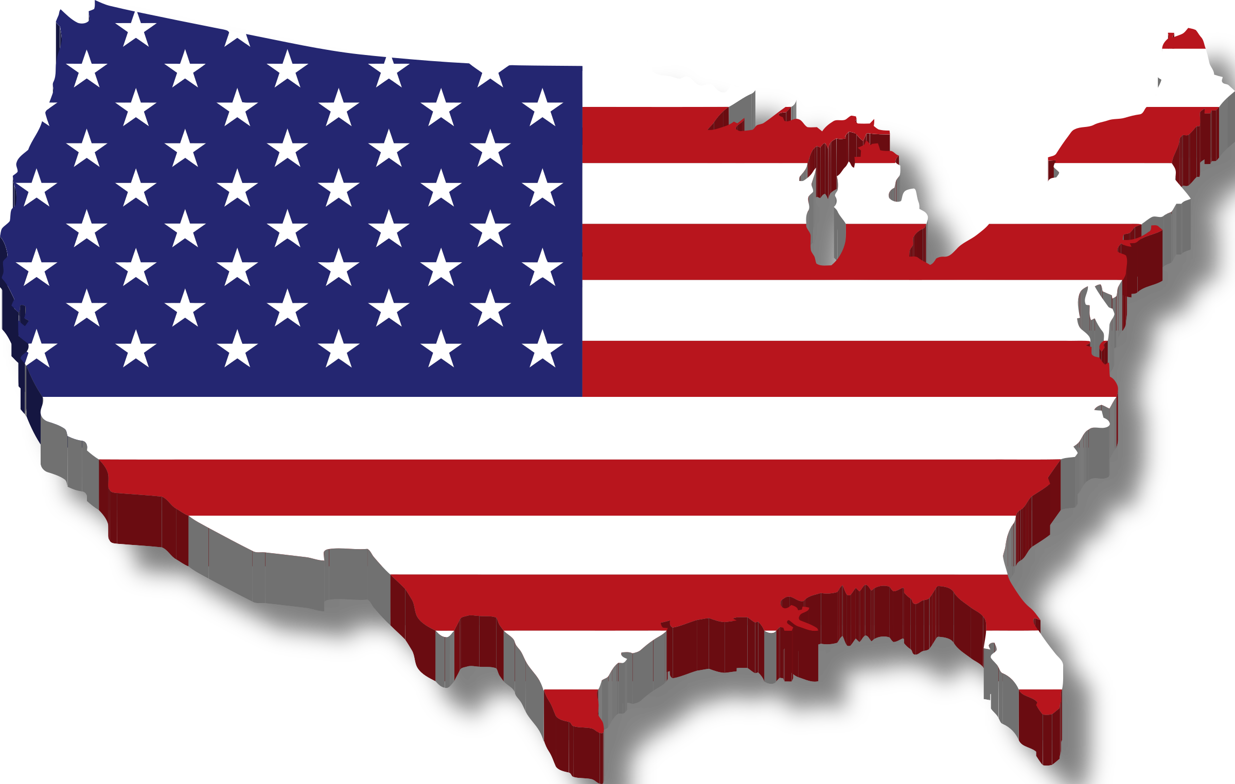 United states of america clipart transparent Clipart - America Map Flag w/ Drop Shadow transparent