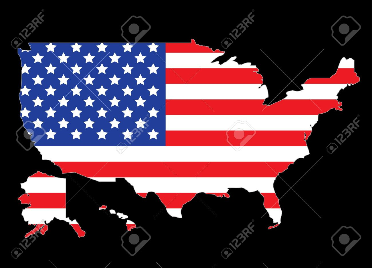 United states outline clipart red clipart transparent library USA Map Outline With United States Flag Vector Illustration ... clipart transparent library