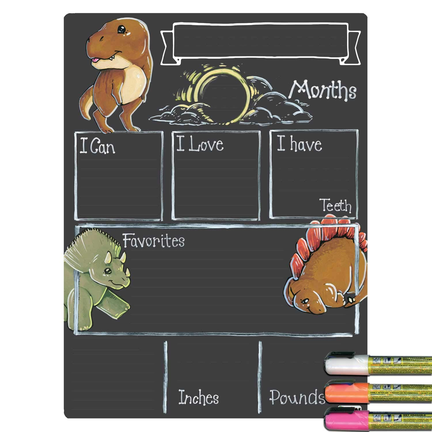 United states president chalk clipart clip Cohas Monthly Milestone Board for Baby with Dinosaur Theme, Reusable  Chalkboard Style Surface, and Liquid Chalk Marker, 12 by 16 Inches, White  Marker clip