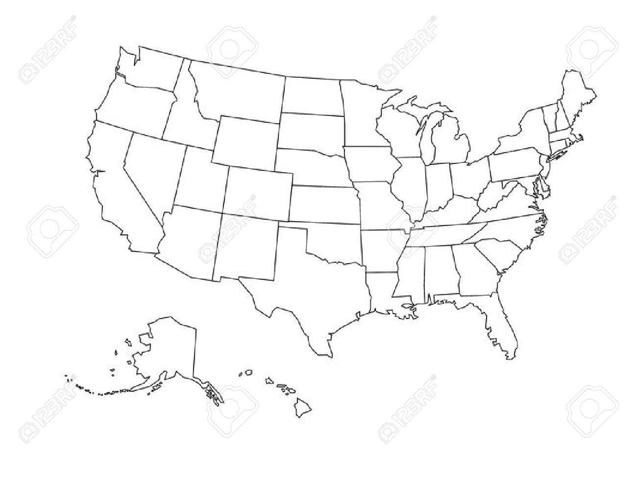 United states simple outline clipart png freeuse Blank Outline Map Of United States Of America. Simplified Vector ... png freeuse
