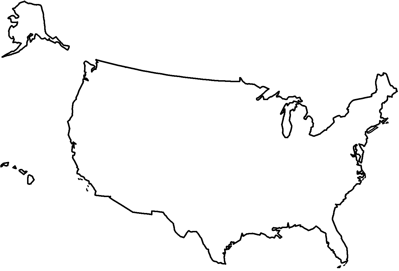 Simple United States Outline Map.Library Of United States Simple Outline Graphic Free Png Files