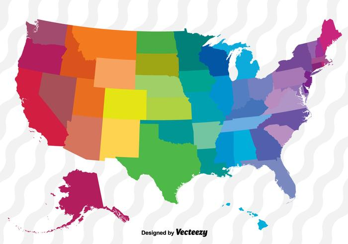 United world jpg clipart svg black and white stock Colorful Vector Map Of The United States - Download Free ... svg black and white stock