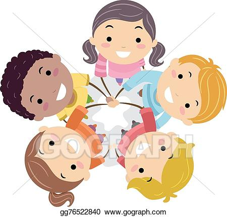 Unity among kids clipart black and white cartoon graphic freeuse library Vector Stock - Stickman kids team hands in. Clipart ... graphic freeuse library