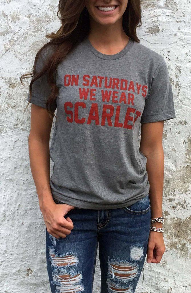 University t-shirt day with jeans kids clipart image royalty free stock On Saturdays We Wear Scarlet\