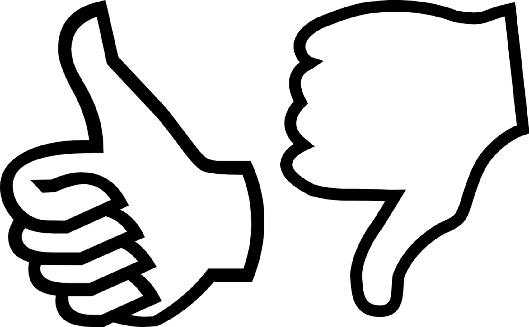Up and down clipart black and white image royalty free Black And White Thumbs Up | Free download best Black And ... image royalty free