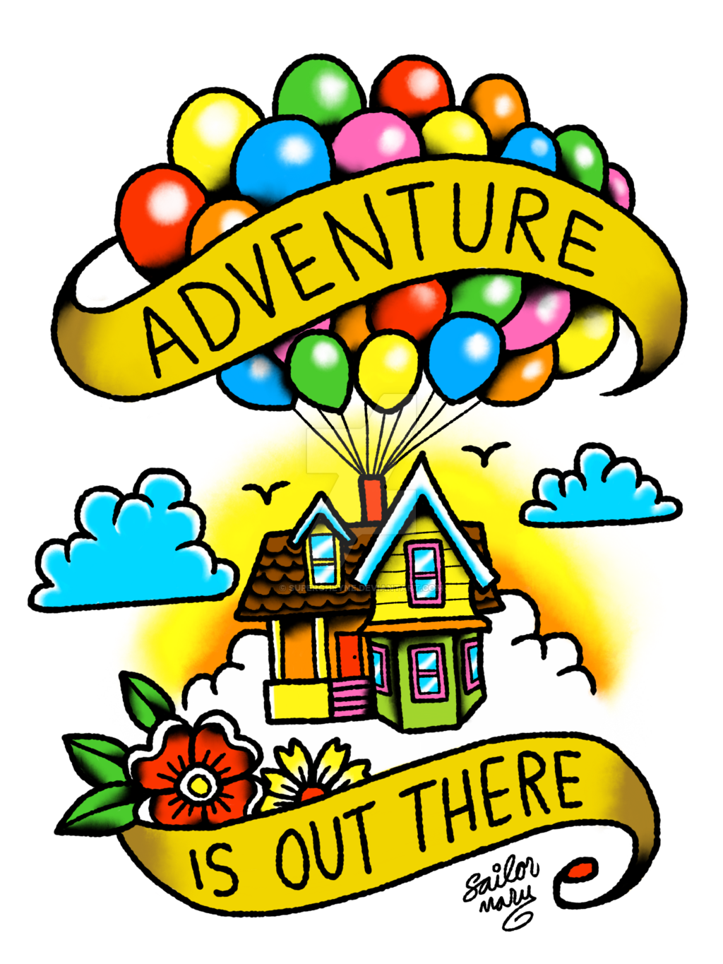 Up house with balloons clipart banner free download Pixar Tattoo - Up by supercheyne on DeviantArt banner free download