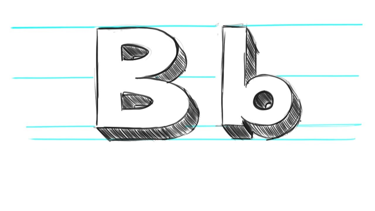 Upper and lower case b letter clipart png transparent How to Draw 3D Letters B - Uppercase B and Lowercase b in 90 ... png transparent