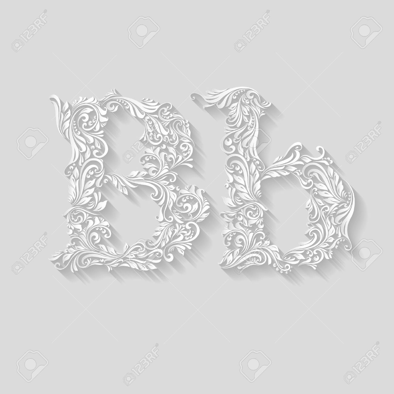 Upper and lowercase b letter clipart clip art library Handsomely Decorated Letter B In Upper And Lower Case On Gray ... clip art library