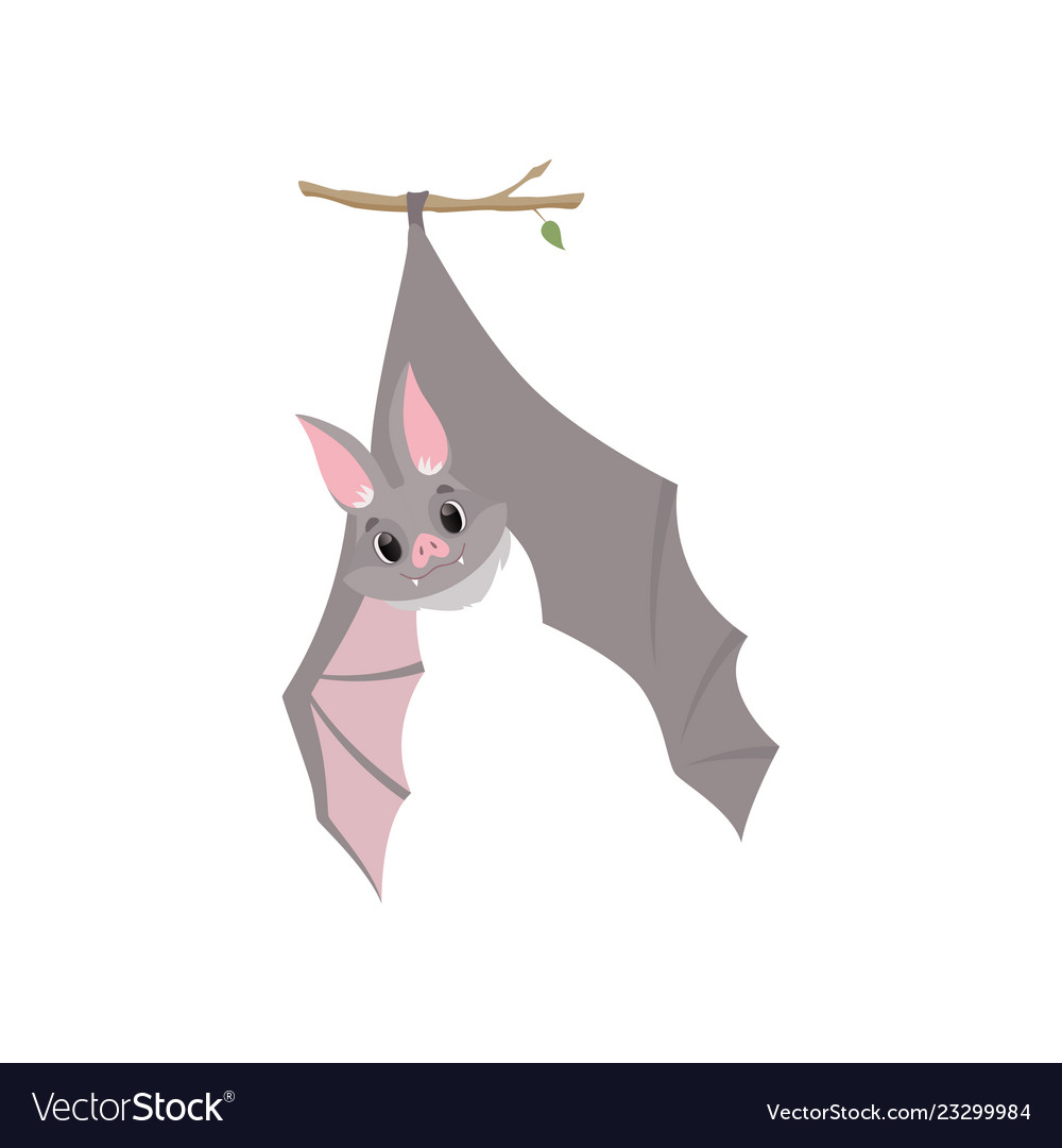 Upside down bat clipart jpg library Funny bat hanging upside down on a branch wrapped jpg library