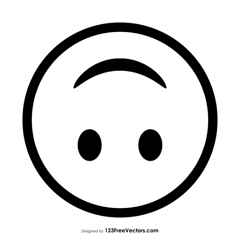 Smiley face outline clipart picture free download Upside-Down Face Emoji Outline Clipart | Free Vectors in ... picture free download