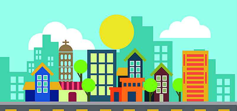 Urban city background clipart graphic free download cartoon flat urban theme | Template design | Cartoon, City ... graphic free download