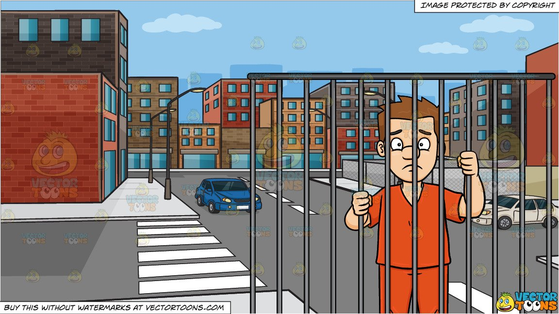Urban city background clipart banner black and white A Scared Man Behind Bars and An Urban Street Background banner black and white