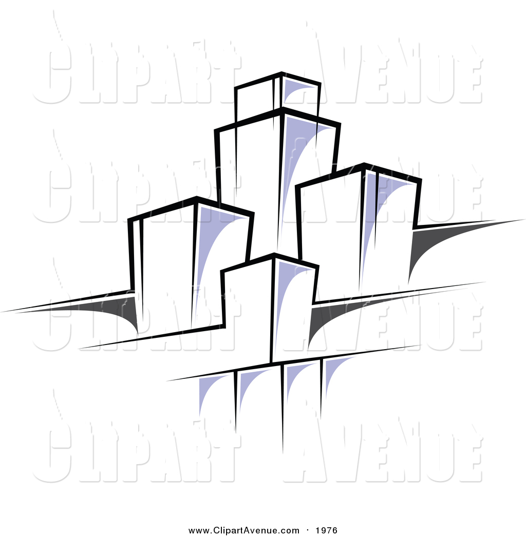 Urban design clipart clipart black and white Clipart of a Highrise Urban Design by Vector Tradition SM ... clipart black and white