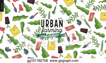 Urban gardens clipart black and white download EPS Vector - Urban farming and gardening pattern. Stock ... black and white download