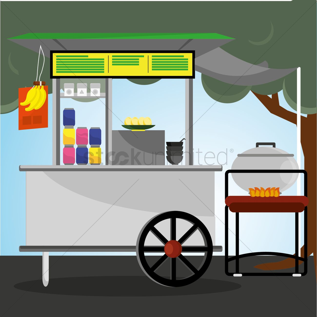 Uruguay street food cart clipart clip black and white Food stall cart with canopy Vector Image - 1409984 ... clip black and white