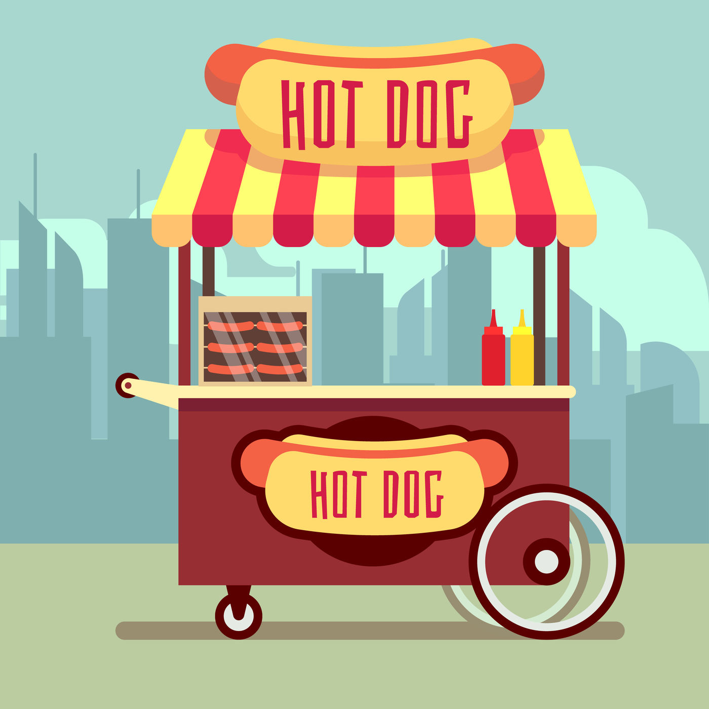 Uruguay street food cart clipart clip freeuse Street food vending cart with hot dogs vector illustration ... clip freeuse