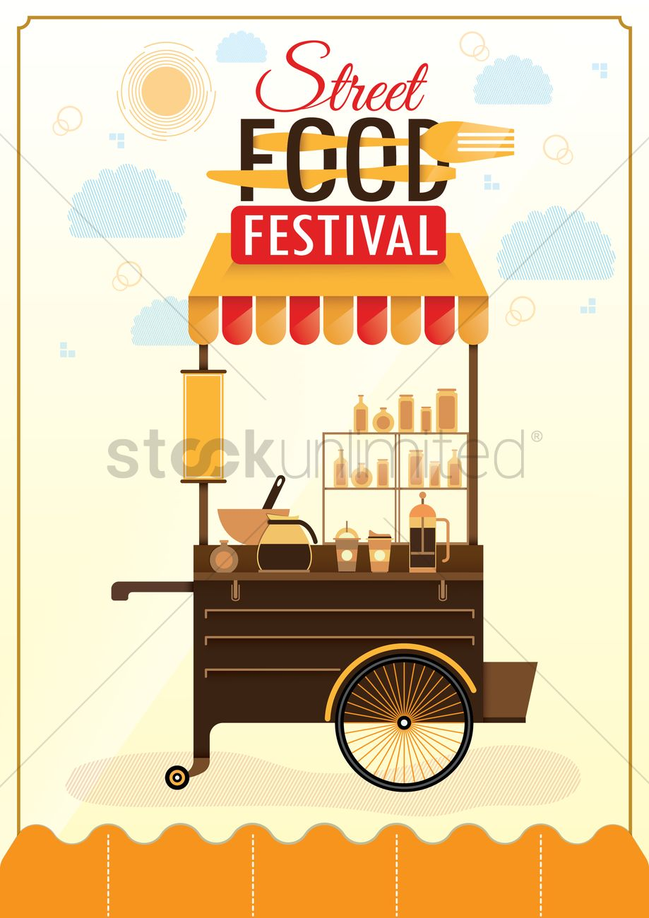 Uruguay street food cart clipart library Street food festival poster design Vector Image - 1974809 ... library