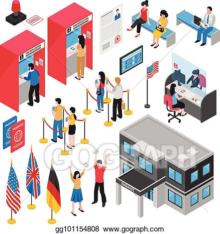Us embassy clipart jobs picture black and white library Vector Stock - Isometric embassy visa center icon set ... picture black and white library