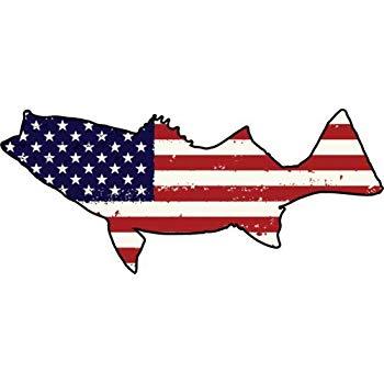 Us flag and ocean clipart clipart WickedGoodz Die Cut American Flag Striper Vinyl Decal - Bass Fishing Bumper  Sticker - Perfect Ocean Angler Gift clipart