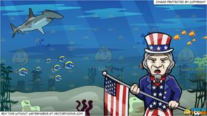 Us flag and ocean clipart image royalty free download Uncle Sam Parading The Usa Flag and Under The Ocean Background image royalty free download