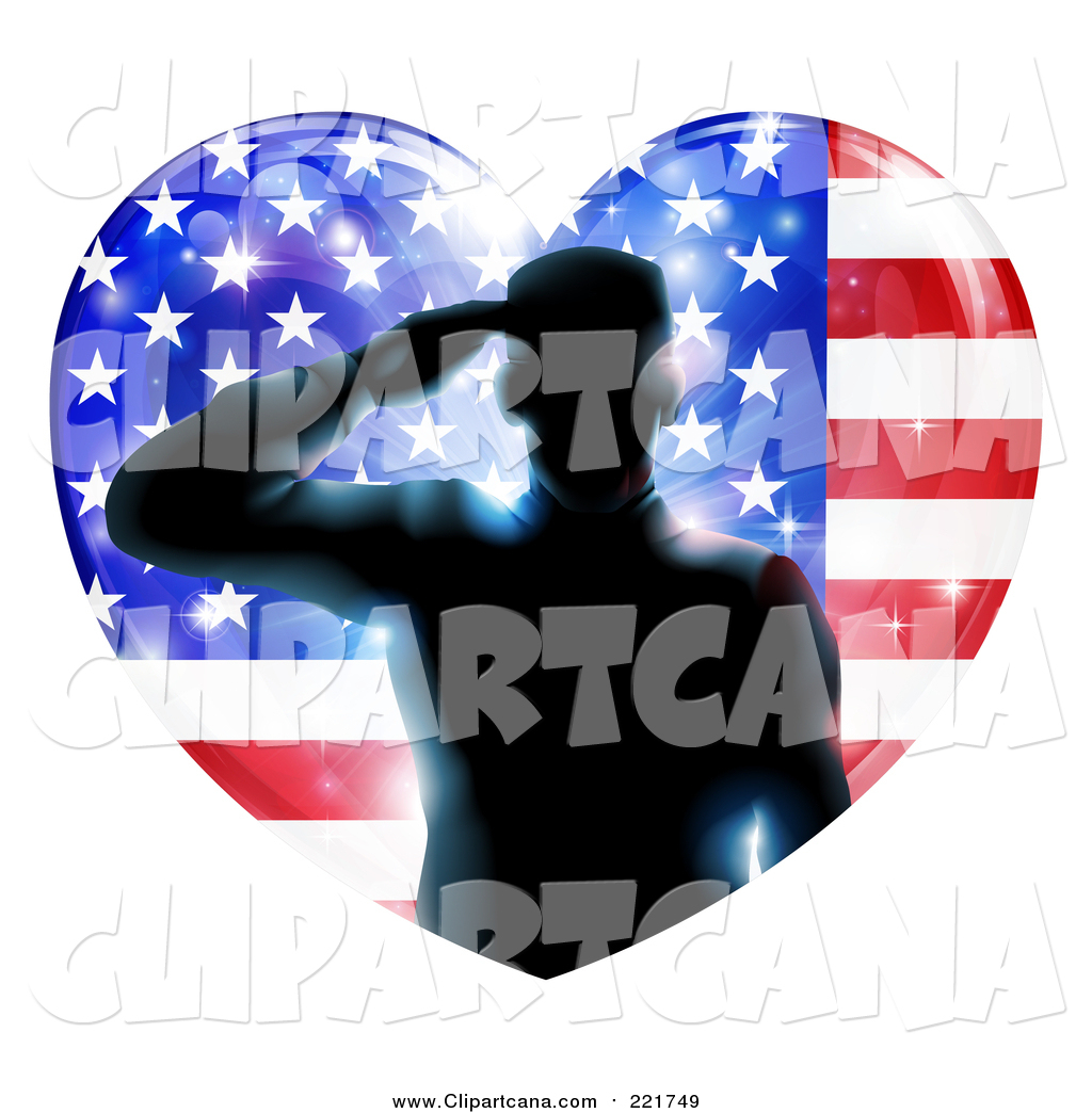 Us flag heart clipart jpg freeuse download Clip Art of a Silhouetted Male Military Veteran Saluting in an ... jpg freeuse download