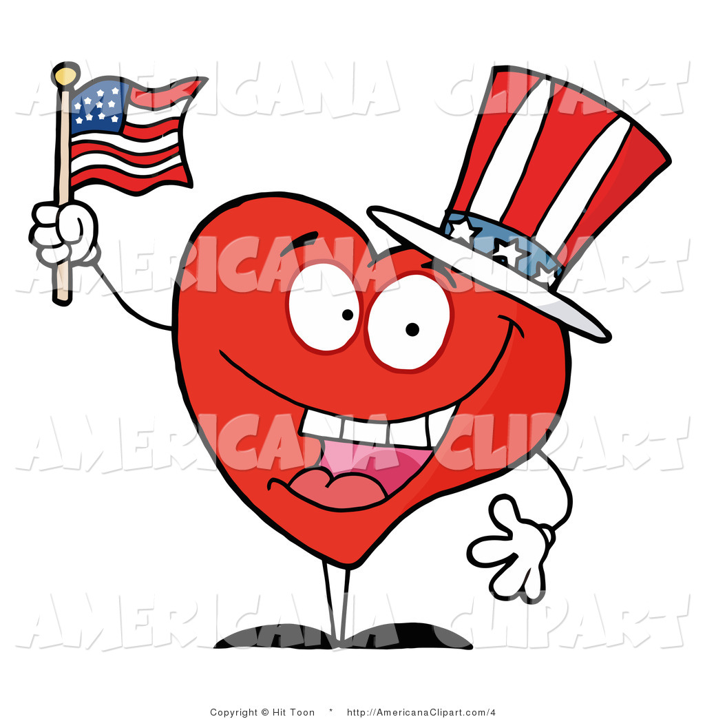 Us flag heart clipart clip art free download Americana Clip Art of a Heart Guy Waving an American Flag by Hit ... clip art free download