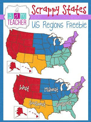 Us geography clip art vector royalty free library FREE US REGIONS Clipart by The 3AM Teacher!! | The 3AM Teacher ... vector royalty free library