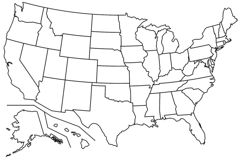 Us map blackline clipart picture stock 17 Blank Maps of the U.S. and Other Countries picture stock