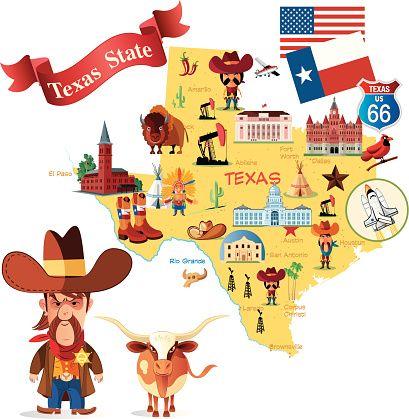 Us map cartoon clipart image transparent stock Cartoon Map of Texas, Credit: drmakkoy | Texas | Pinterest ... image transparent stock