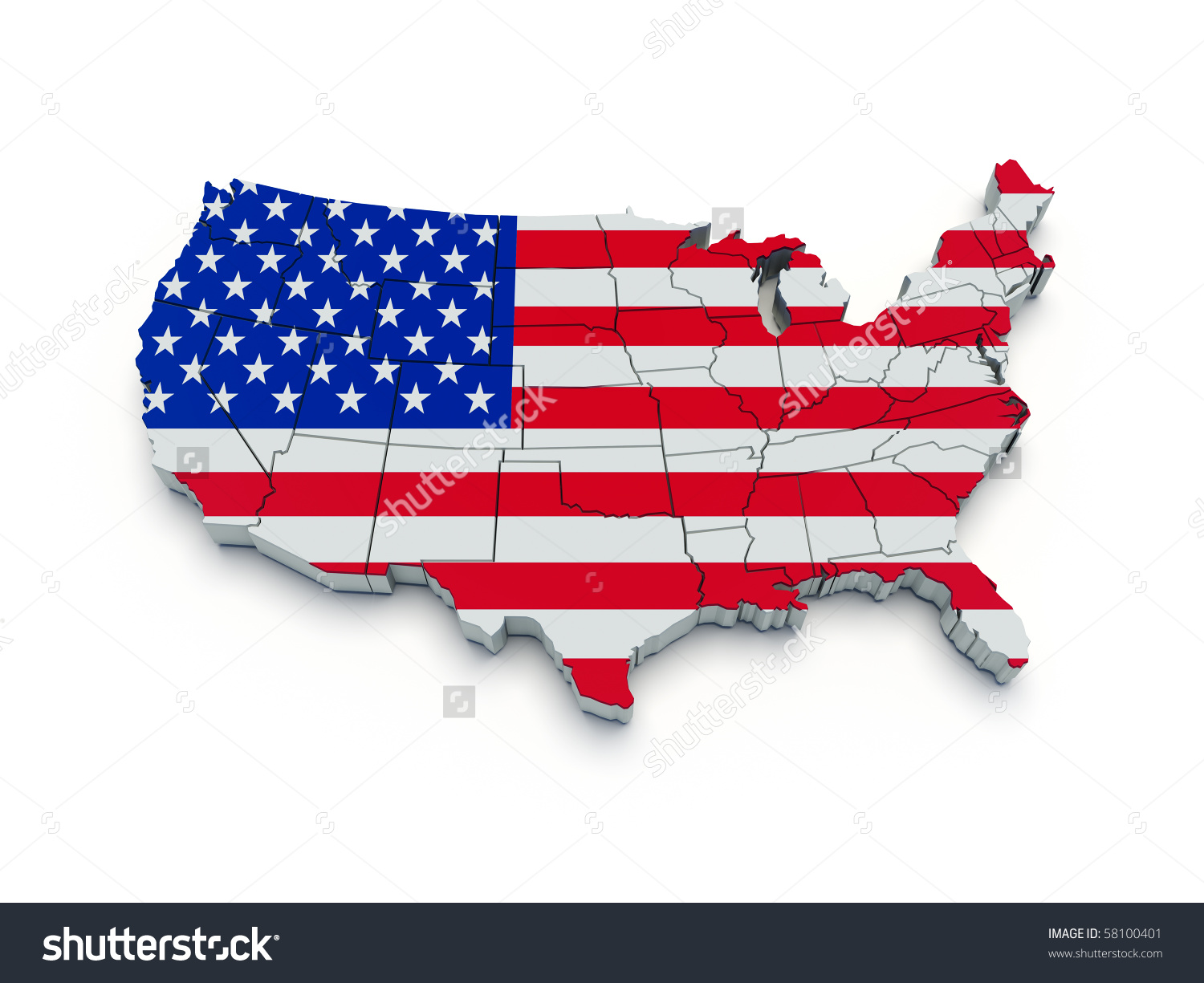 Us map flag clipart png royalty free stock Usa Flag Map 3d Render Stock Illustration 58100401 - Shutterstock png royalty free stock