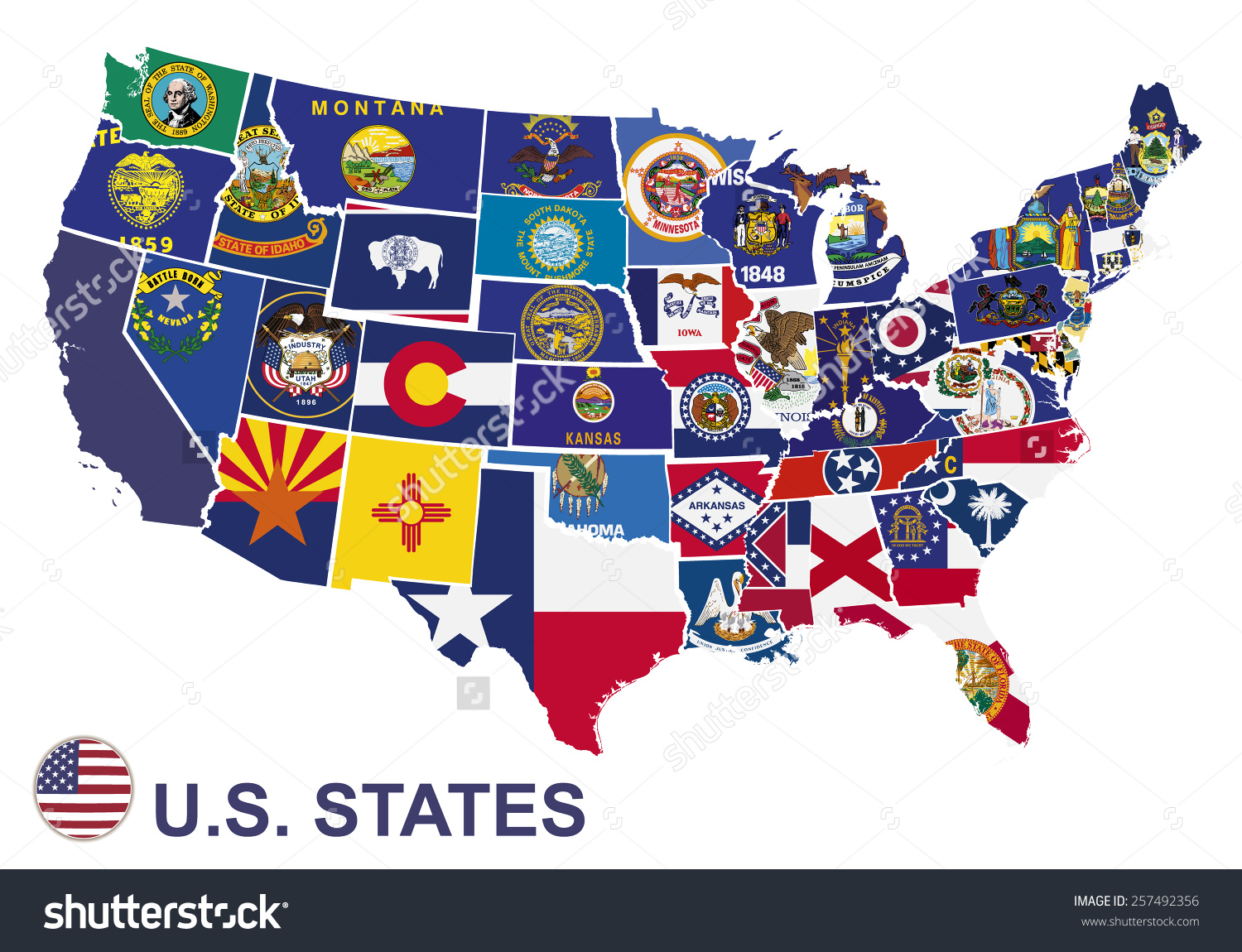 Us map flag clipart graphic freeuse download Us Map Flags States On White Stock Vector 257492356 - Shutterstock graphic freeuse download