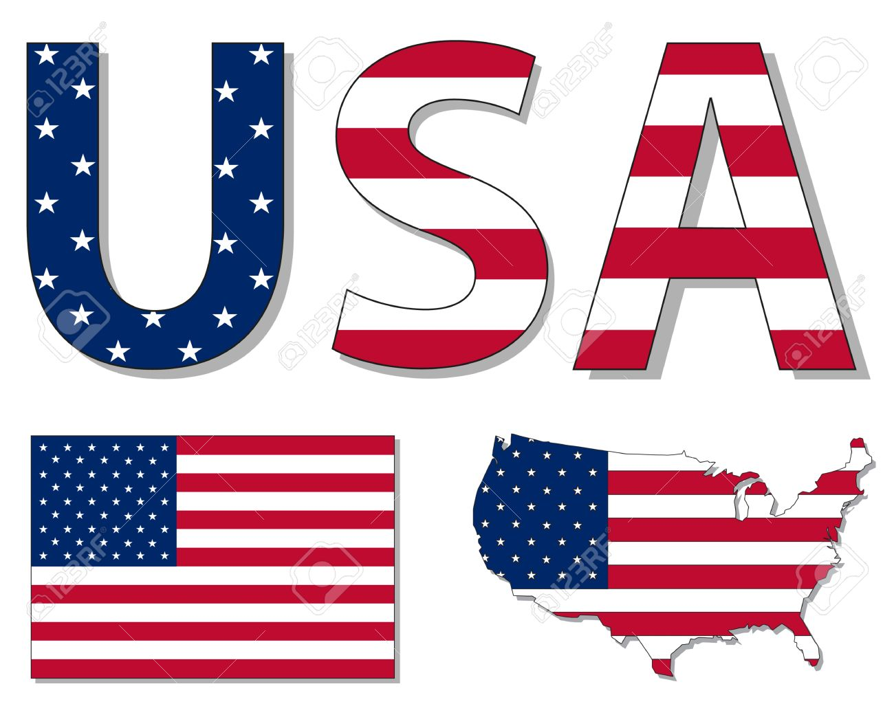 Us map flag clipart clip art royalty free stock Outline Map Of USA Filled With USA Flag Royalty Free Cliparts ... clip art royalty free stock