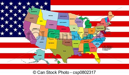 Us map flag clipart svg freeuse library Stock Illustrations of American Flag with map - Multi-colored map ... svg freeuse library