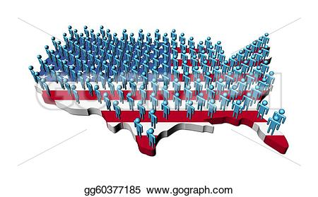 Us map flag clipart vector royalty free Stock Illustration - Rows of abstract people on usa map flag ... vector royalty free